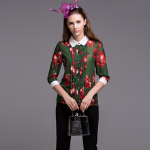 Elegant Green Blouse Casual Shirt Summer Turn-Down Collar 3/4 Sleeve Flowers New 2017 Print Fashion Blouse