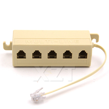 Newest Hot RJ11 6P4C 1 Jack to 5 Female RJ11 Telephone Phone Cable Line Y Splitter Extension Cable Adapter Connector