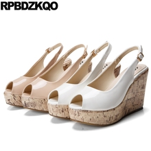 High Heels Sandals Nude Platform Shoes Size 4 34 33 White Cheap Ladies Plus Fish Mouth Wedge Slingback 10 42 Peep Toe Pumps(China)
