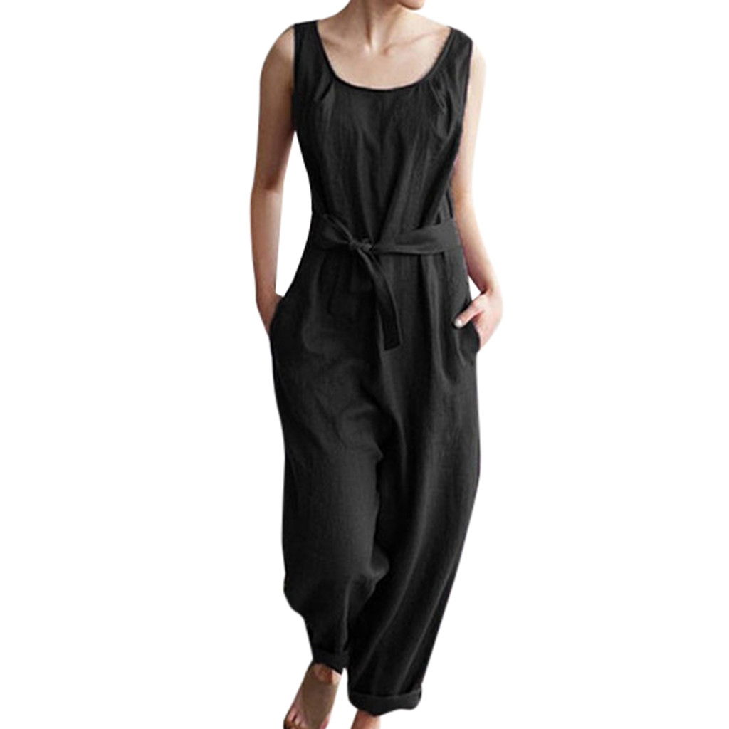 JAYCOSIN Summer Women Jumpsuits With Belt Solid Linen Sleeveless Casual Cute Pockets  Playsuits   19JAN24