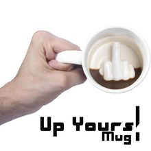 Free Shipping 1Piece Up Yours Mug Middle Finger Ceramic Coffee Mug Funny Cup Coffee Milk Tea Cups And Mugs Surprise Gift Idea