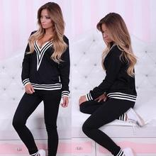 New Women Cotton Tracksuit Lady Suits Hoodies Suit Set V Neck Sexy Sweatshirt+Pant Gray Black Femme Plus Size S-XL