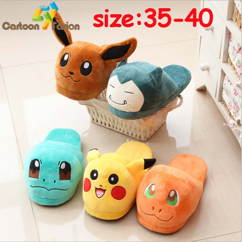 Monster Go Slippers Pikachu Eevee Snorlax Squirtle Charmander Soft Stuffed Plush Toy House Winter Shoes Slippers for Men Women<br><br>Aliexpress