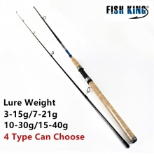 FISH KING Wood Handle Sea Fishing Spinning Rod 2.4m 2.7m 2 Section Ultra Light Carbon Fiber Saltwater Spinning Fishing Rod Pole