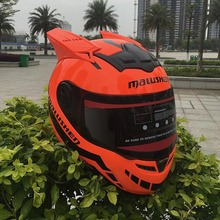 Full face helmet Orange Motorcycle helmet off road asque moto casco professional rally racing helmet with corn(China)
