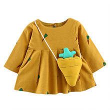 Autumn Baby Girl Long Sleeve Cartoon Carrot Print Sweet Cotton Dress Princess Party Dress To Send A Carrot Shape Packet(China)