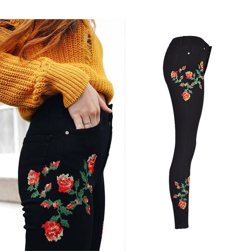 Hot Sexy High Waist Denim Stretchy Black Jeans Embroidery Rose Fashion Skinny Full Length Bodycon Tight Women Pencil Jeans Femme (8)