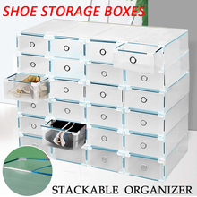 24pcs Clear Shoe Storage Boxes Stackable Plastic Shoes Drawer Organizer Metal Border 31cmx20cmx11cm