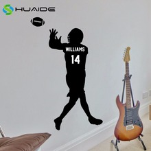 Personalized Football Jersey Wall Decal Custom Wide Receiver Decal Boys Sport Wall Sticker Bedroom Wall Art Home Decor Vinyl A-8