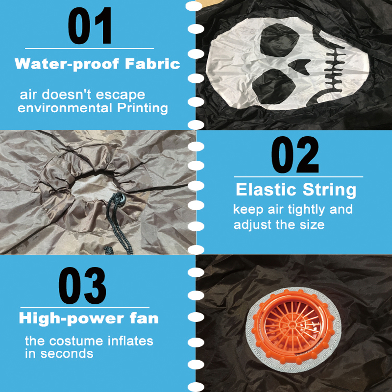 Free Shipping ghost Inflatable Costume Adult Skeleton Fancy Dress Suit Party Halloween Costumes (13)