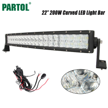 "Partol 22"" 200W 5D Curved LED Light Bar OffRoad LED Bar Light 4X4 4WD Driving Work Light for Tractor Camper Boat SUV ATV Car(China)"