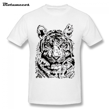 Summer Men T Shirt Tiger Image With Black&White Color Short Sleeve O-neck 100% Cotton Tees Shirt Top Clothing MTD018(China)
