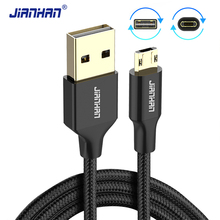 JianHan Nylon Braided Reversible Micro USB extension Fast Charging Data cord Cable Xiaomi Samsung Huawei LG Android Phone
