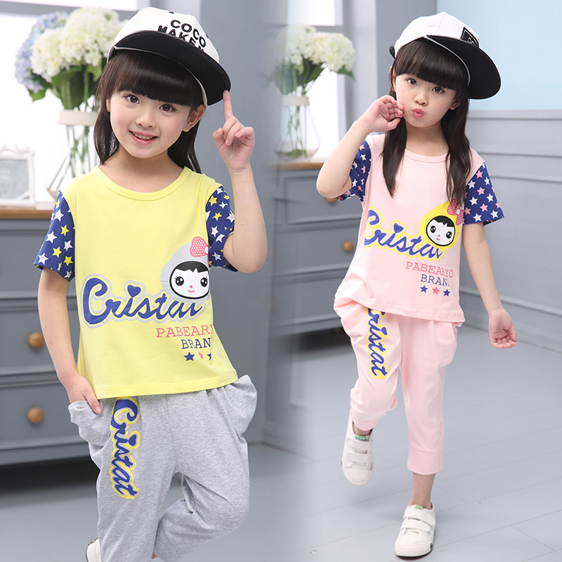 Gilrs fashion summer 2017 100% cotton sport clothing set child casual girl short-sleeve children's clothing cute cartoon clothes(China (Mainland))