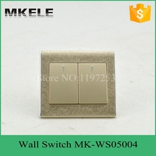 MK-WS05004 PC flame material 10A 250V 2 Gang switch 2 Way thin modern wall switch, light wall switch for home decoration(China)
