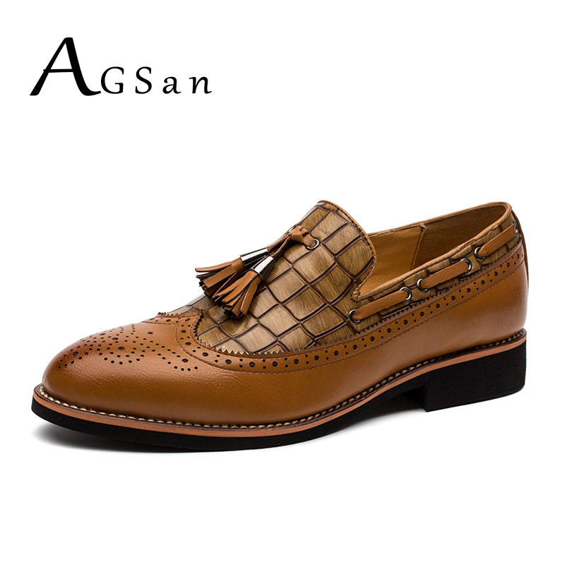 AGSan brogue shoes for men classic tassel loafers mens black burgundy brown for wedding party pointed toe leather oxfords<br>