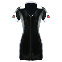 Buy Black PVC Exotic Dress Latex Sexy Catsuit Costume PU Leather Catwoman Clubwear Clothes Halloween Zipper Nurse Dress Costume