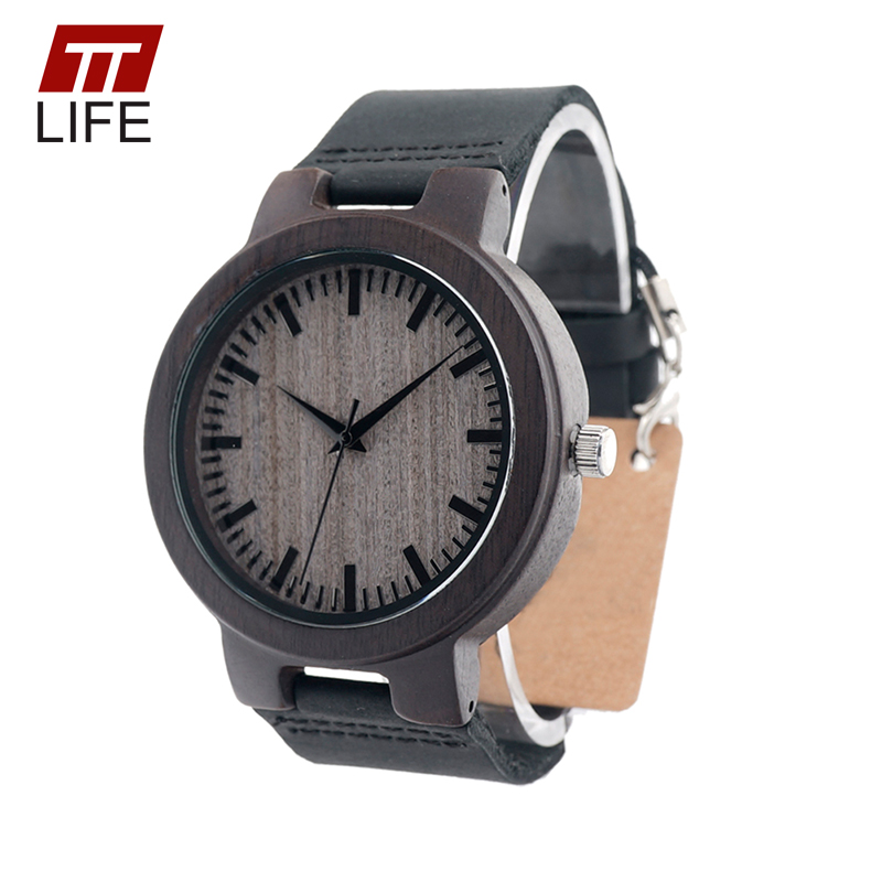 TTLIFE WD276 Men New Ebony Wood Watches Brand Designer Wood Dial Full Ebony Wooden Minimalism Top Brand Luxur With Gift Box 2017<br><br>Aliexpress