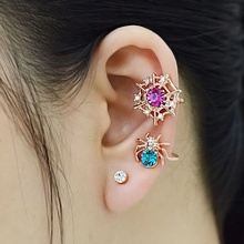 New Fashion Shiny Crystal Rock Punk Spider Ear Wrap Cuff Stud Clip On Earrings Jewelry For Women