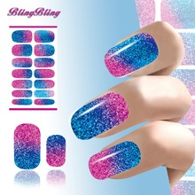 2PCS Colorful Glitter Design Nails Art Sticker Manicure Sticker Decal Solvent Resistant Glitter Nail Patch Foils Decals(China)