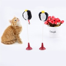 2 Colors Pets Stick Toys Cats Toys Sucker Ball Cat Rod For Cat Catcher Teaser Toy Pet Kitten Jumping Trainning Toys with Bells