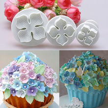 3pcs Hydrangea Fondant Cake Decorating Sugar Craft Plunger Cutter Flower Mold Free Shipping