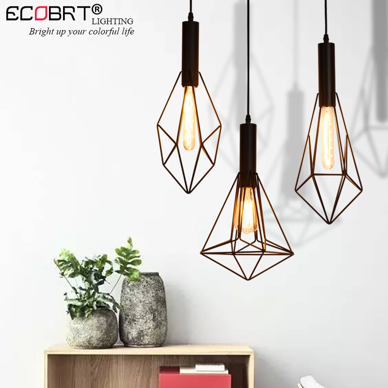 ECOBRT Retro Black indoor LED pendant light Vintage iron cage lampshade warehouse Style lighting fixtures/E27 Bulb 100-240V AC