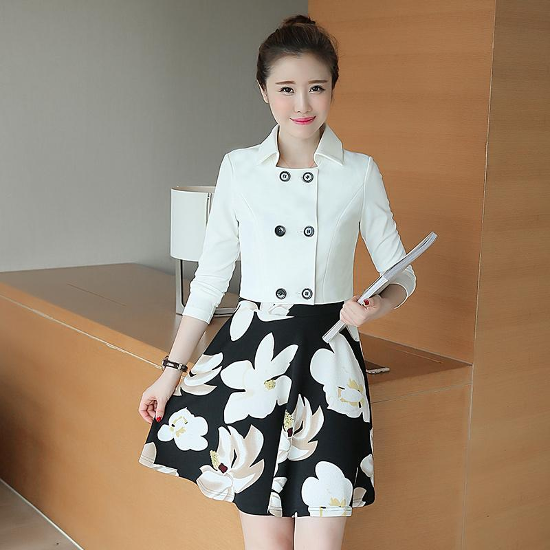Autumn Dress Women New Arrivals Two Color Short Jacket Fashion Print Floral Dress Suits Ladies 2 pieces Dresses