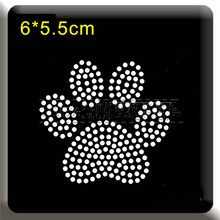 4pc/lot Bear paw Shiny applique patches sticker Hotfix iron on crystal transfers design iron on patches for child shirt dress