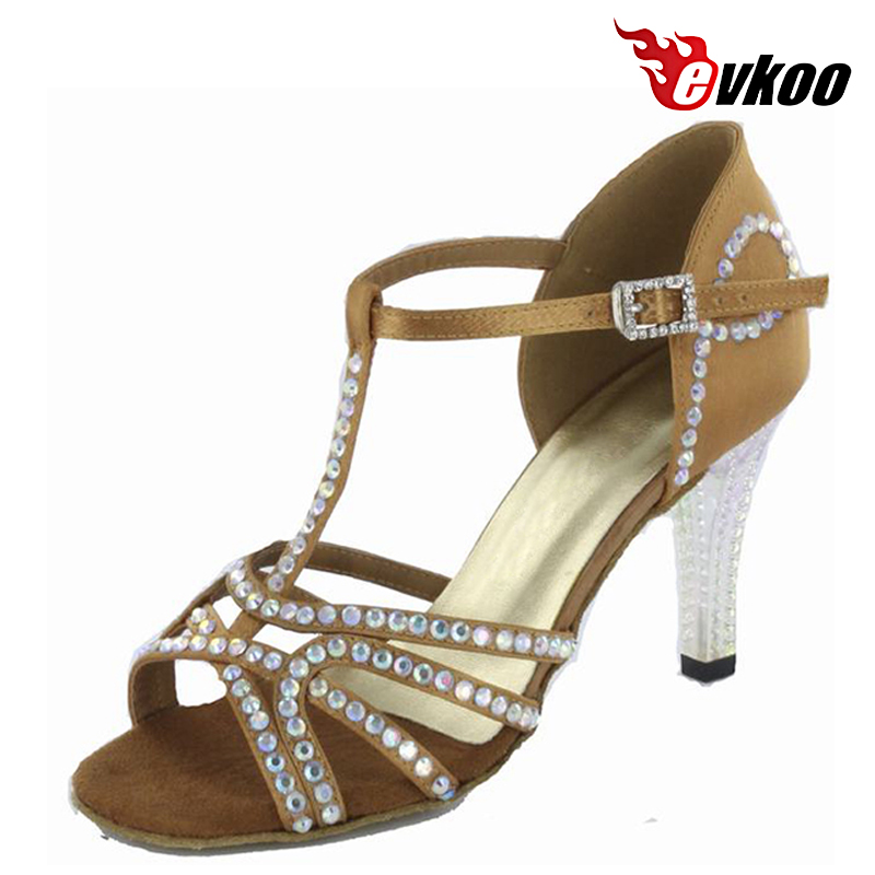 Bright Diamond Shoes Dance Salsa For Ladies Made By Satin Material 8.5cm High Heel Or 7cm Heel With Diamond Evkoo-242<br><br>Aliexpress