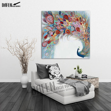 Happy Peacock 100% Handpainted Animal Oil Paintings Funny Cartoon Picture Paint on Canvas Modern Wall Art Home Decoration(Hong Kong)