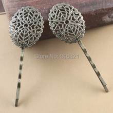25x30mm Blank Bobby Pins Bases Settings Oval Filigree Hollow pads Hair Clip Hairpins Crafts Findings DIY Antique bronze tone