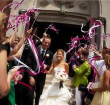 10pcs of Wedding 3 Color Ribbon Wands,Wedding Stream Ribbon Sticks Wands with &Metal End & 2 Bells