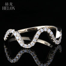 HELON Solid 14K Yellow Gold Half Eternity Band Pave Natural Diamonds Engagement Wedding Ring Fashion Jewelry Women's Ring