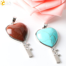 CSJA Alloy Heart Pendants Purple Pink Quartz Crystal Natural Gem Stone Beaded Rhinestone Zircon Romantic Jewelry Lover Gift E244