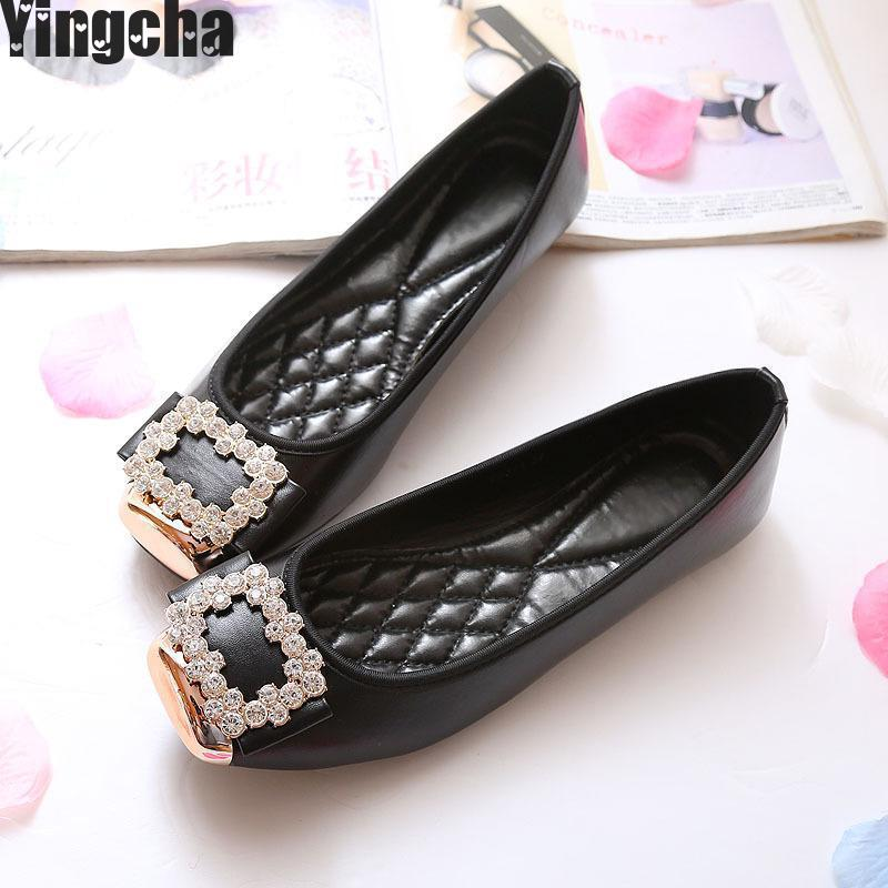 2018 Buckle Women Flats Spring Autumn Patent Leather Women Shoes Square Toe Lady Footwear Slip On Size 34-43 <br>