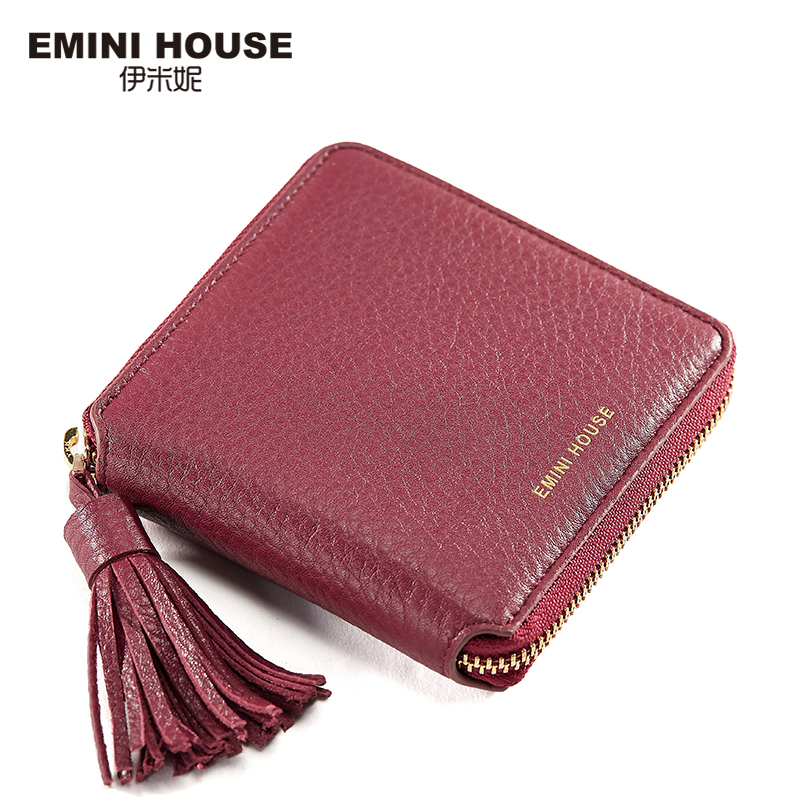 EMINI HOUSE Genuine Leather Tassel Short Wallet Womens Wallets And Purses Luxury Zipper Small Wallets Travel Wallet Card Holder<br>