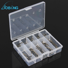 Bobing Hot sale 50pcs/lot 10 Sizes Steel Fishhooks Carp Fishing Jig Head Set Fishing Tackle Box Accessory Tool