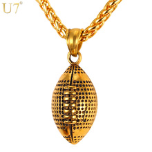 U7 Men Necklace Fashion Jewelry Sport Gold Color Stainless Steel Workout American Football Fitness Chain & Pendant Ball P917(China)