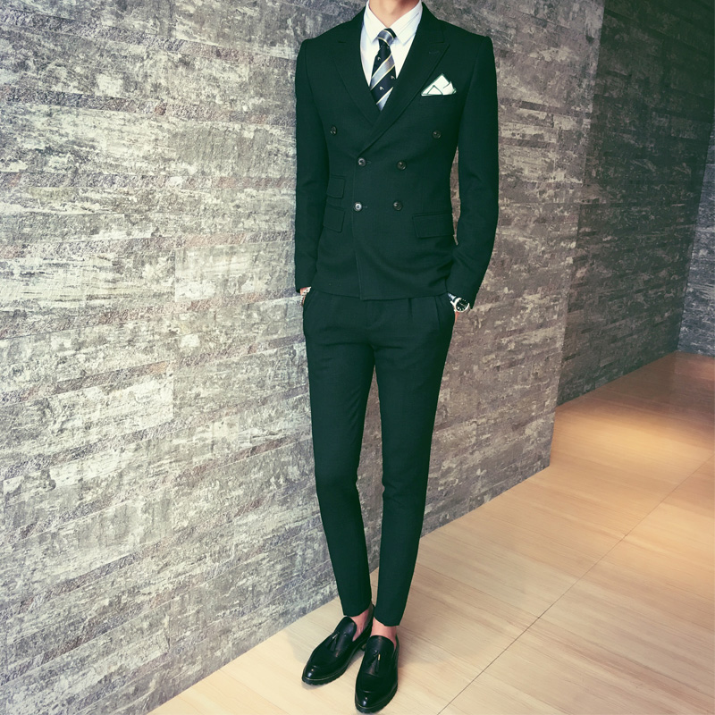 2017-New-Fashion-Mix-Match-Stylish-Double-Breasted-Male-Suit-Green-Brown-Black-Men-Dinner-Party