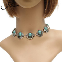 Retro Bohemian Collar Choker Turquoises Beads Exaggerated Necklace Fashion Ethnic Style Beads Silver Color Necklaces Jewelry