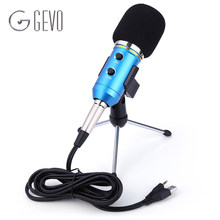 GEVO MK-F200FL Condenser Microphone Professional Wired Desktop USB Microphone Stand With Tripod For Computer Karaoke Studio PC