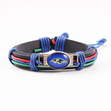 6pcs/lot America Football Team Baltimore Ravens Leather Bracelet Sport Team Logo Charm Wrap Bracelet For Women Men Fan(China)