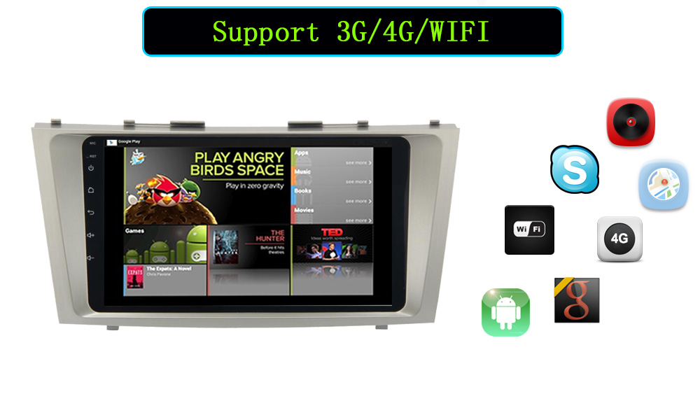 9\'\'2din Android 6.0 GPS dvd- Toyota Camry Aurion Wi-Fi Bluetooth GPS SWC 4 3 HD1080P