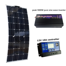 20V 100W Flexible Solar Panel with 10A Controller and Peak 1000W Pure Sine Wave Inverter 12V Battery Solar Charger for RV Boat(China)