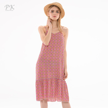 PK summer women beach dress sweet casual chiffon dress floral ruffle dress chiffon oversize vestidos attached volume bottom(China)