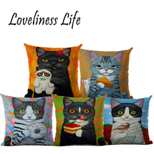 Euro Flower Cat Cushion Covers Throw Pillow For Restaurant Bar Sofa Seat Cat Decorative Linen Drop Shipping Almofada Cojines(China)