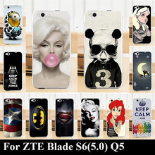 For ZTE Blade S6(5.0) Q5 CASE Hard Plastic Mobile Phone Cover Case DIY Color Paitn Cellphone Bag Shell  Shipping Free