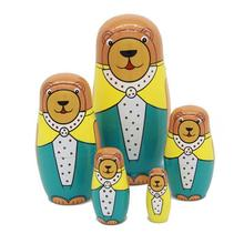 5pcs/set Lovely Baby Toy Cute Brown Bear Animal Matryoshka Doll Interactive Wooden Toys Russian Nesting Dolls @ZJF