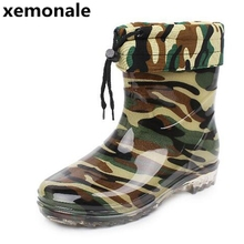 xemonale Man's Camouflage Warm Wool Mid-Calf Rain Boots Men High Quality Rubber Boots Men Platform Non-slip Footwear XJL47(China)